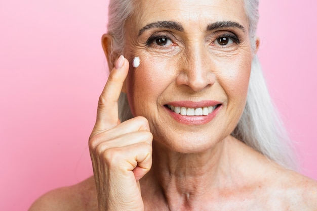 Sorrindo, mulher madura close-up