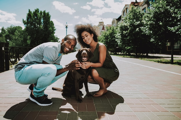 Sorrindo, par americano africano, acariciando, cão