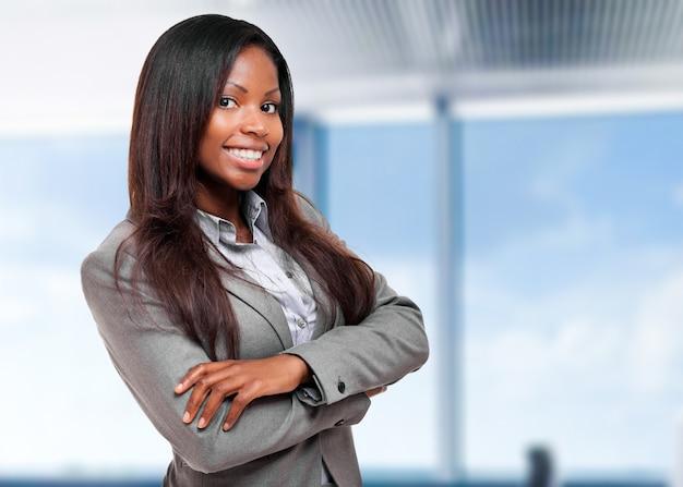 Sorrindo, pretas, executiva, em, dela, escritório