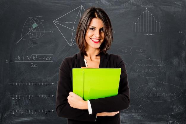 Sorrindo, professor profissional, mulher
