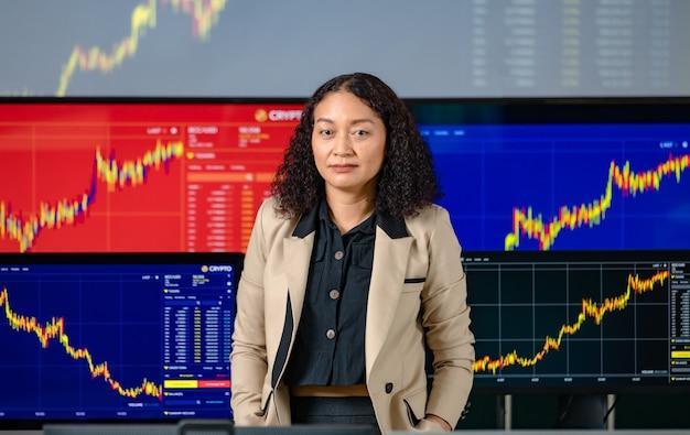 Sorriso de estande de investidor de corretora profissional de sucesso feminino, colocar as mãos no bolso da calça, olhar para a câmera na frente da tela do monitor do computador com análise de gráfico de criptomoeda de ações e bitcoin.