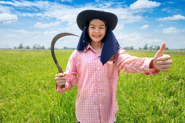 Sorriso de fêmea jovem agricultor feminino feliz e segurando a foice em um campo de arroz verde e céu azul