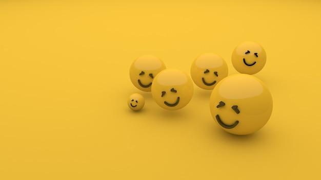 Sorriso emoji no fundo amarelo mundo sorriso dia 3d renderização 3d ilustração 3d