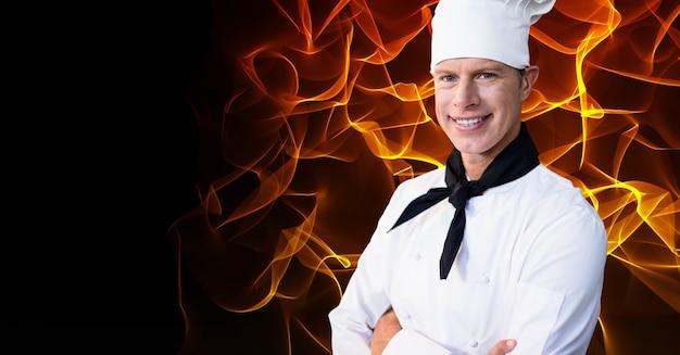 Sorriso retrato masculino fundo branco usando