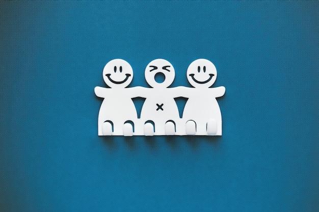 Sorrisos felizes e tristes. figuras de plásticas brancas sobre fundo azul