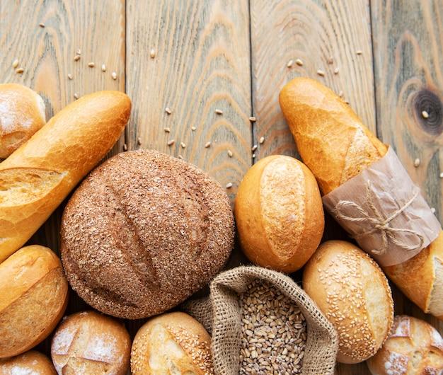 Sortido, assado, pão