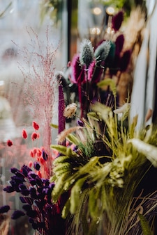 Sortimento, de, colorido, secado, flores selvagens