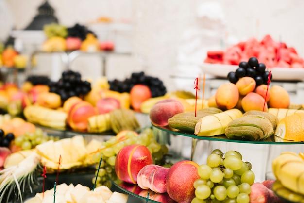 Sortimento, frutas, apresentado, tabela