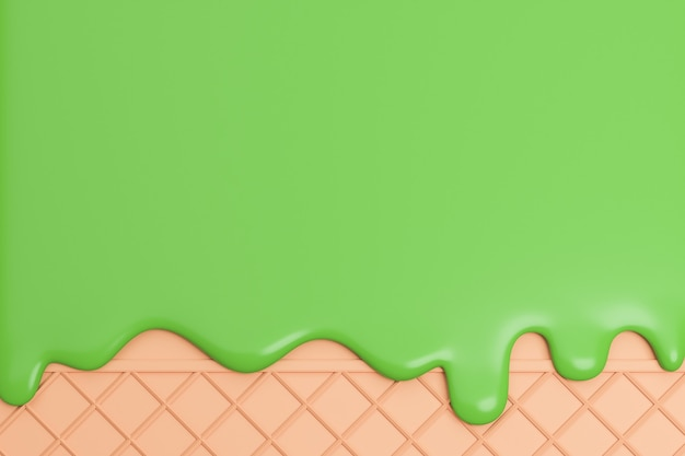 Sorvete de chá verde derretido no fundo da bolacha, modelo 3d e ilustração.