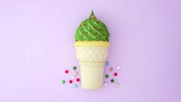 Sorvete de chá verde e sorvete de baunilha, coberto com sobremesas coloridas em rosa