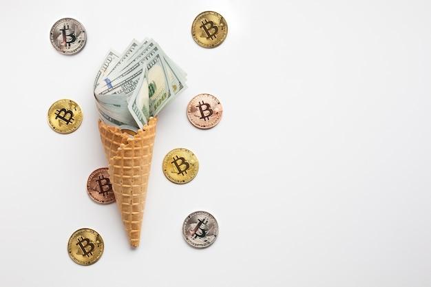 Sorvete de moeda com bitcoin