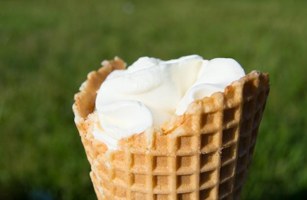 Sorvete no cone de waffle na grama turva