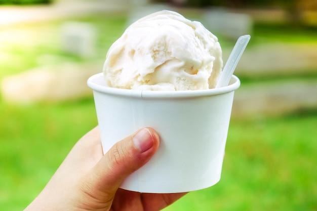 Sorvete. sorvete de baunilha e laticínios na mão