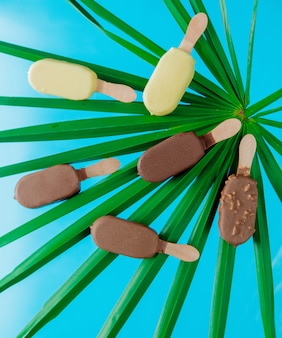 Sorvetes de chocolate e creme com folhas de palmeira na parede azul.