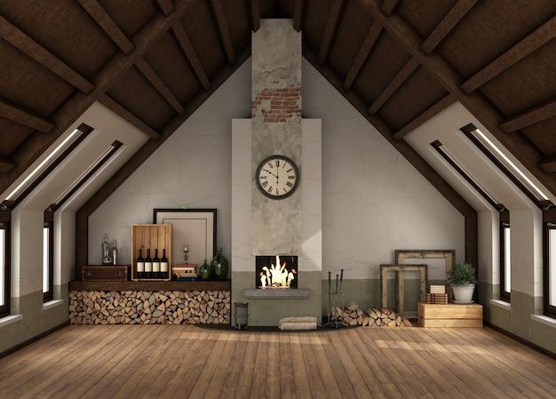 Sótão rertro com lareira antiga, piso de madeira e teto de madeira