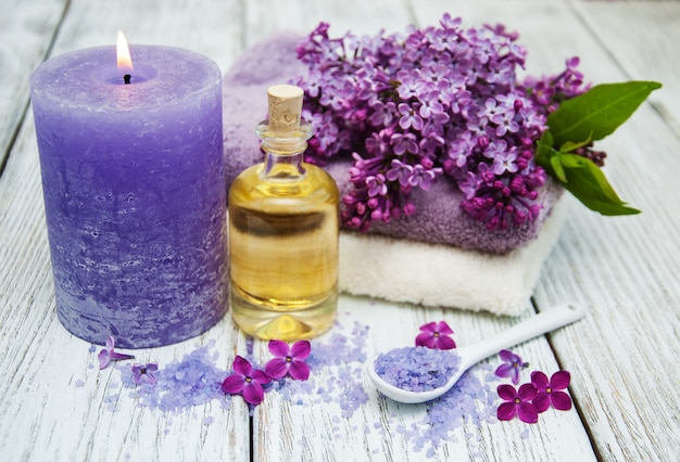 Spa, armando, com, lilás, flores