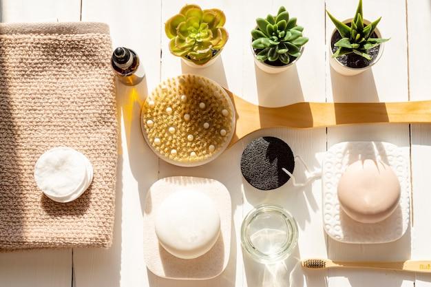 Spa, cosméticos de beleza e conceito de tratamento de cuidados corporais.