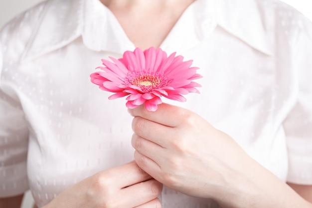 Spa e corpo cuidados conceito, rosa gerbera na mão feminina