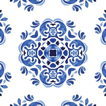 Spaish azul e branco desenhado à mão azulejo sem costura ornamental padrão de pintura em aquarela