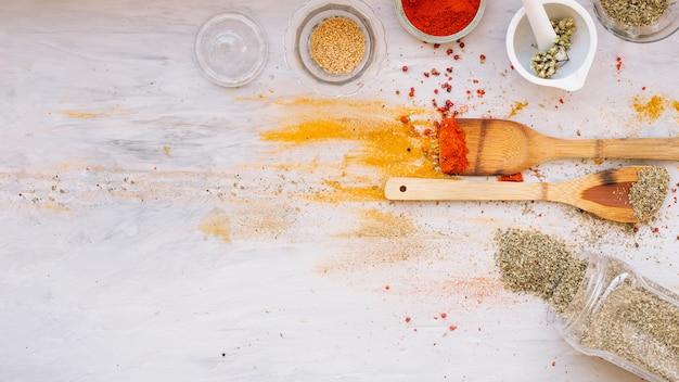 Spices derramados perto de espátulas