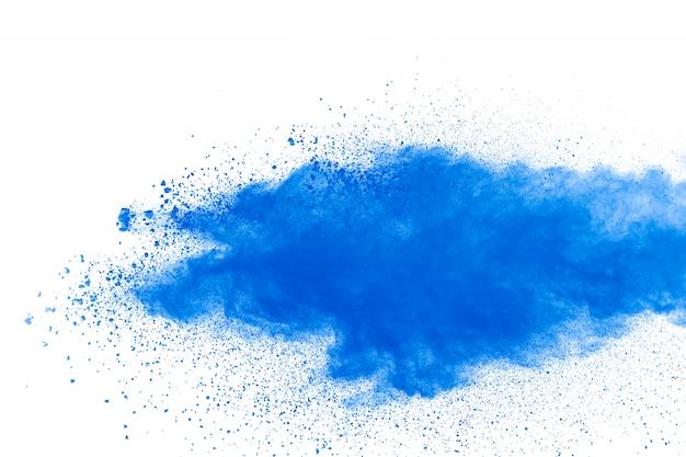 Splatter preto das partículas no fundo branco. explosão de poeira de pó preto.