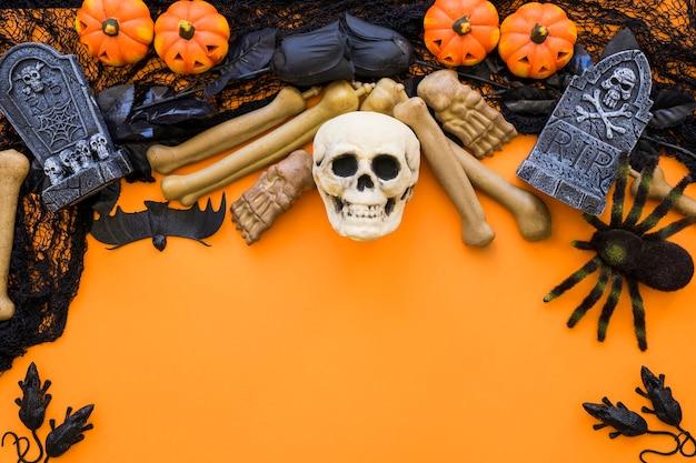 Spooky halloween fundo com crânio