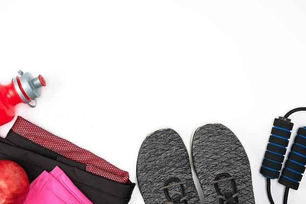 Sportswear feminino para esportes ativos em um fundo branco