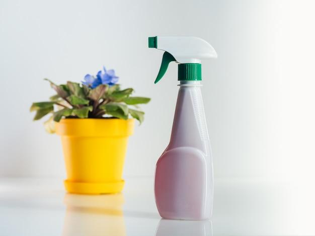 Spray de água e planta doméstica