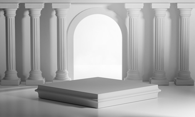 Square podiums bright shining door classic colums pillars colonade renderização 3d