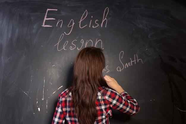 Sra. smith se apresentando para a classe enquanto ela inicia uma aula de inglês na faculdade escrevendo seu nome no quadro-negro, de costas para a câmera