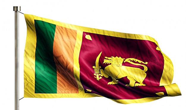 Sri lanka national flag isolated 3d fundo branco