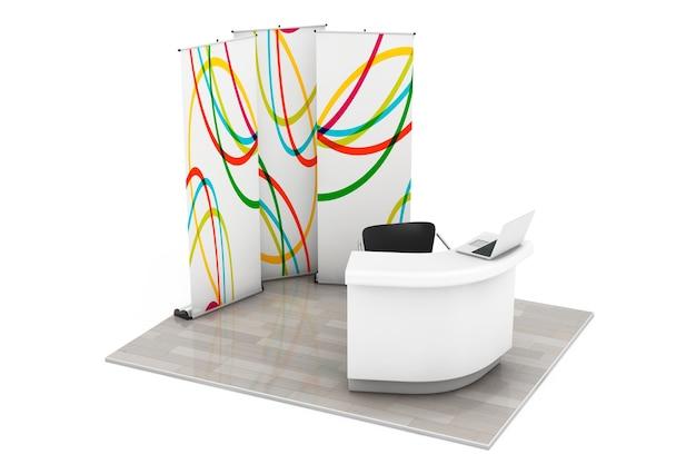 Stand de exposição comercial comercial em um fundo branco