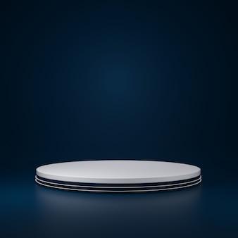 Stand de produtos de cilindro branco de luxo na sala azul, studio scene for product, design minimalista, renderização 3d
