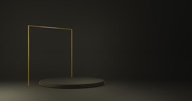 Stand de produtos de cilindro de ouro de luxo em quarto escuro, studio scene for product, design minimalista, renderização 3d