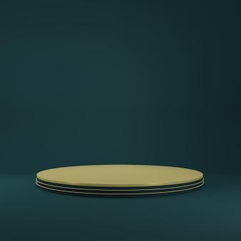 Stand de produtos de cilindro de ouro de luxo na sala azul, studio scene for product, design minimalista, renderização 3d