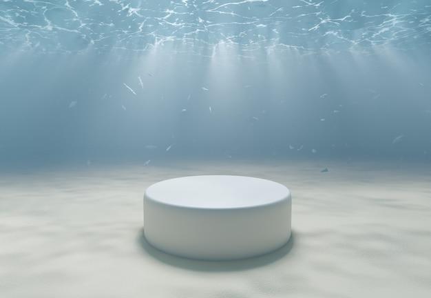 Stand de produtos no fundo do mar com areia branca e peixes ao fundo. renderização 3d
