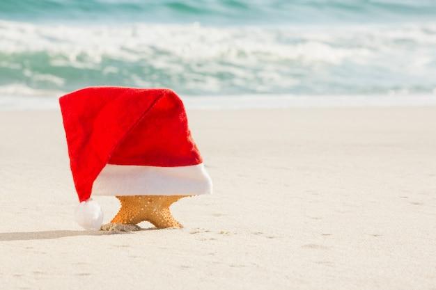 Starfish coberto com chapéu de santa mantido na areia
