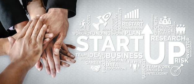Start up business of creative people concept empreendedorismo, fundo e plano de projeto.