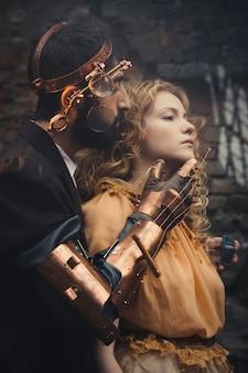 Steampunk magia de conto de fadas de um casal apaixonado