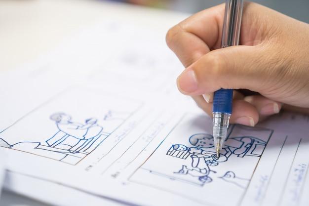 Storyboard ou storytelling, desenho criativo para processo de filme, pré-produção, filmes de mídia, roteiro de história para vídeo