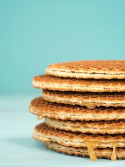 Stroopwafels ou caramelo waffles holandeses