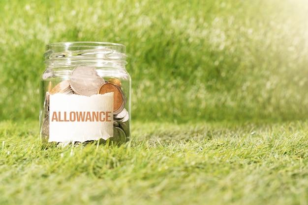 Subsídio dinheiro, moedas em frasco de vidro para poupar dinheiro