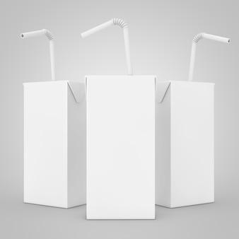 Suco branco, iogurte ou caixa de leite com canudo e espaço livre para seu design em um fundo branco. renderização 3d