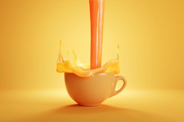 Suco de laranja despejando em uma xícara branca na cor de fundo de cor laranja. renderização 3d
