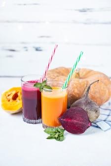 Suco fresco de legumes caseiros