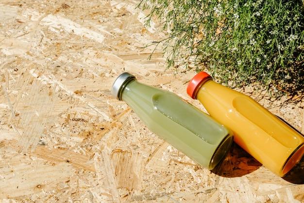 Sucos de desintoxicação verde e laranja ao lado de bush