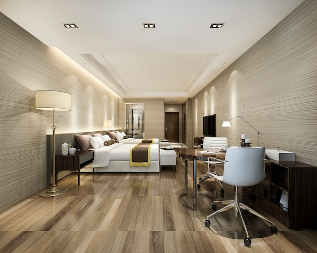 Suíte de luxo no resort hotel de arranha-céus com cama de solteiro