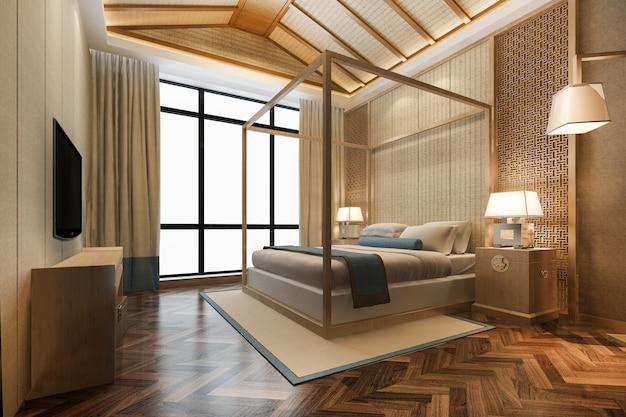 Suíte de luxo tropical com renderização 3d em hotel resort e resort