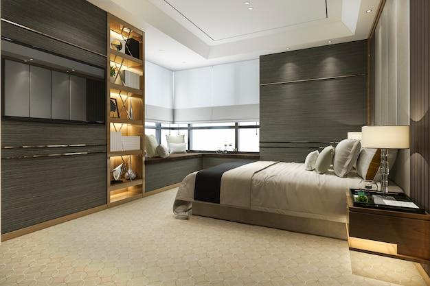 Suite de quarto de luxo de madeira moderna de renderização 3d com estante e almofada