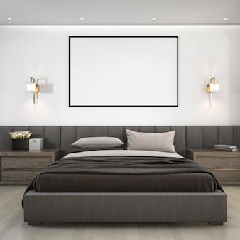 Suite de quarto moderna luxuosa da rendição 3d no hotel com quadro